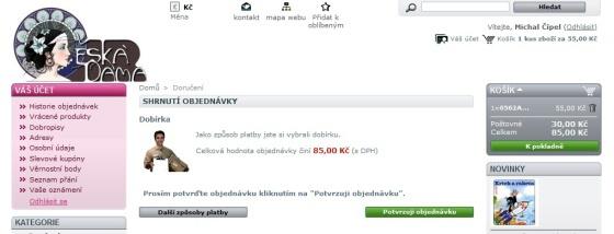 Potvrzení objednávky v e-shopu filatelie Česká Dáma