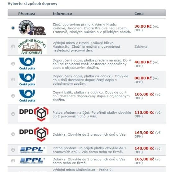 Výběr dopravců e-shopu filatelie Česká Dáma