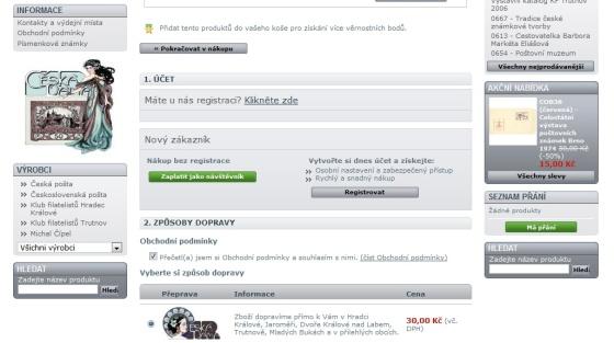 Registrace zákazníka v e-shopu filatelie Česká Dáma