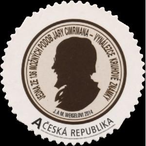 """0829 - Vlastní známka kruhová """"A"""" - Jára Cimrman"""